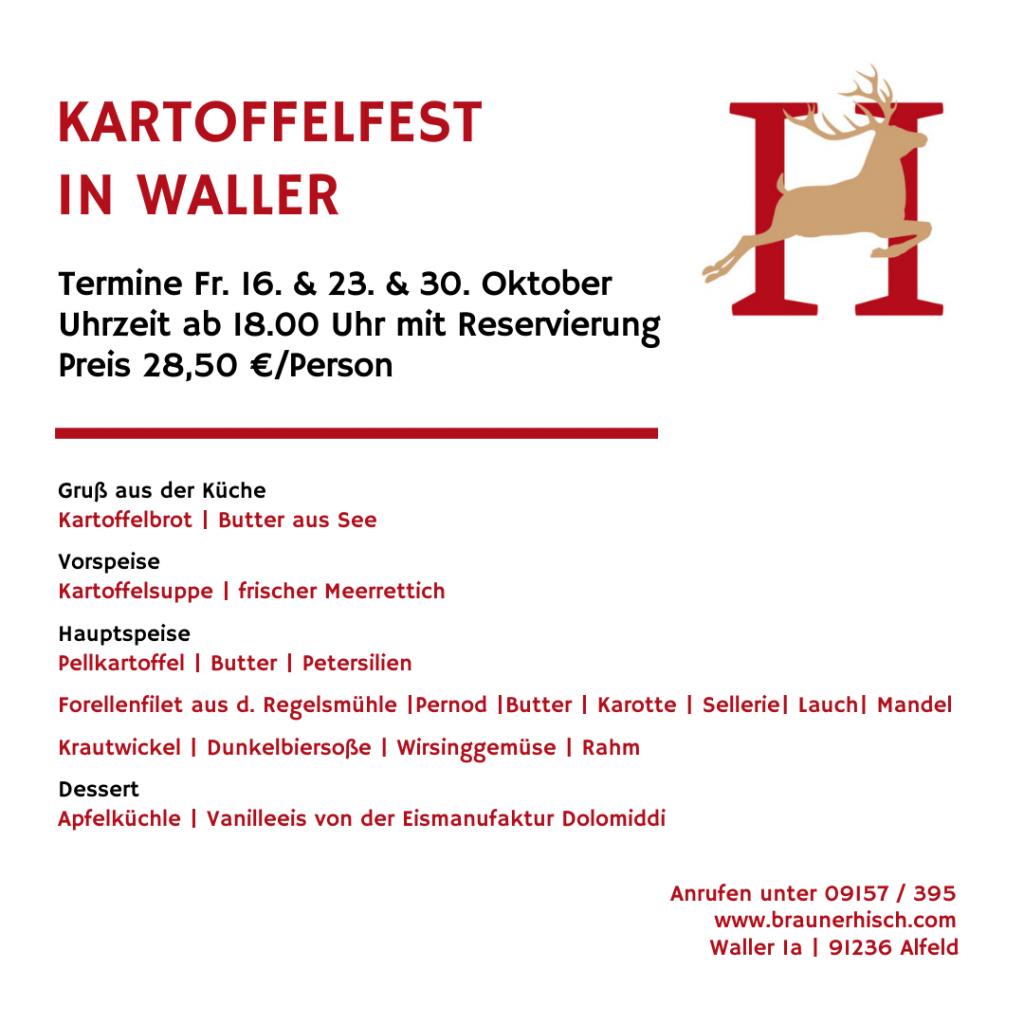 Kartoffelfest Gasthaus Brauner Hirsch Waller