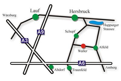Anfahrt Gasthaus Brauner Hirsch Waller