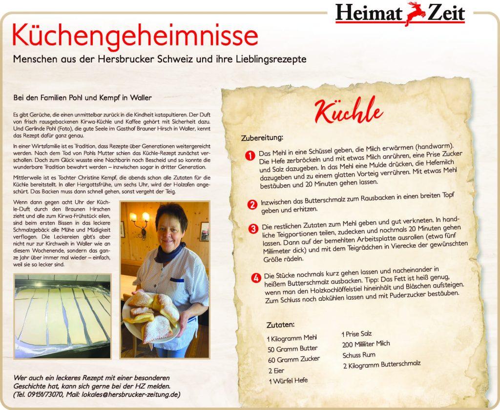 Rezept Gasthaus Brauner Hirsch Waller