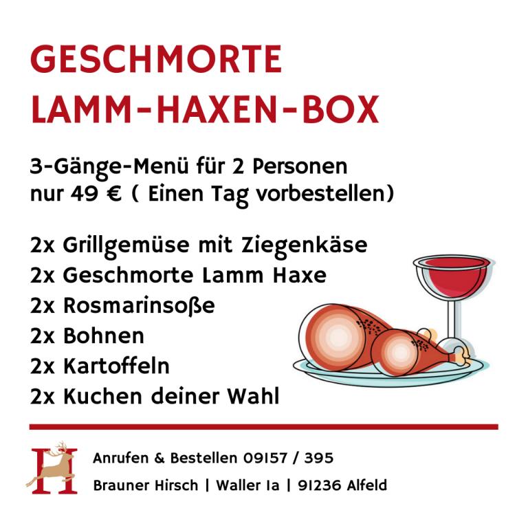 Lamm-Haxen-Box Brauner Hirsch Waller