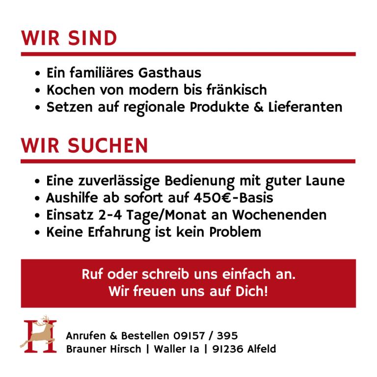 Stellenanzeige Gasthaus Brauner Hirsch Waller