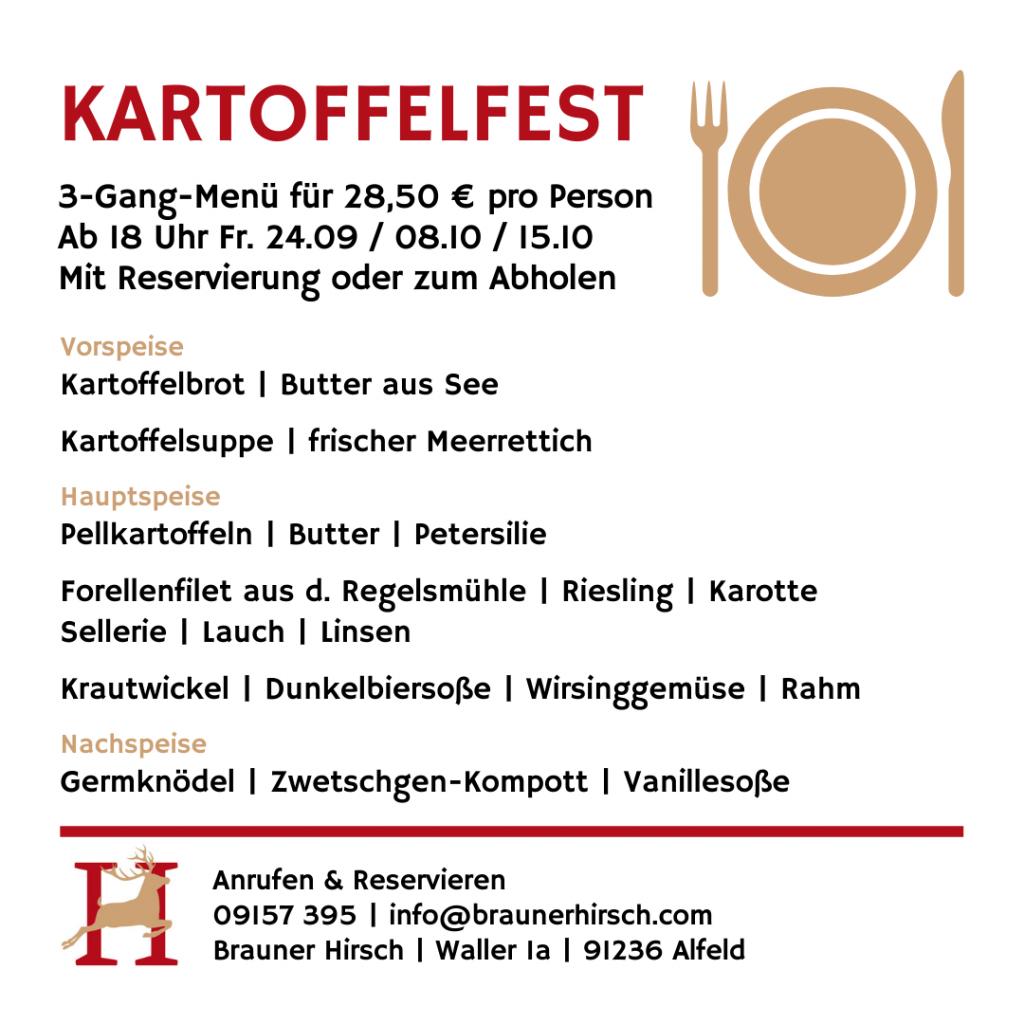 Kartoffelfest Menü Gasthaus Brauner Hirsch Waller